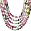 Design 13245: pink,multi-color tourmaline classic, multistrand necklaces