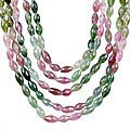 Design 13248: green,pink,yellow tourmaline classic, multistrand necklaces