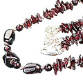 Design 9843: red garnet chipped, contemporary necklaces