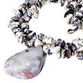 Design 9966: gray,multi-color dendrite opal chipped, contemporary, pendant necklaces