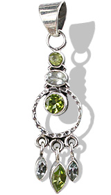 Design 10007: Green, Blue peridot pendants