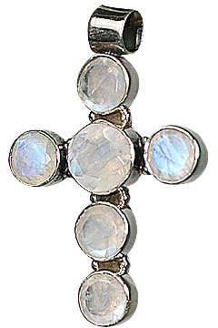 Design 10057: white moonstone cross pendants