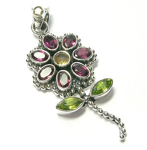 Design 10062: green,pink,red rhodolite flower pendants