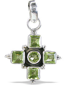 Design 10129: green peridot cross pendants