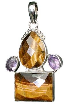Design 10148: brown,purple tiger eye drop pendants
