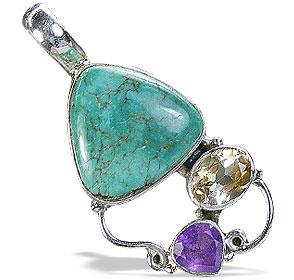 Design 10213: blue,multi-color turquoise pendants