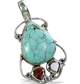 Design 10255: green,red turquoise drop pendants