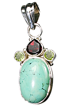 Design 10259: Blue, Green, Red turquoise pendants