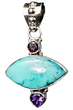 Design 10262: Green, Purple, Red turquoise pendants