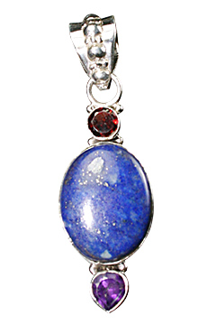 Design 10302: blue,purple,red lapis lazuli drop pendants