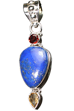 Design 10308: blue,red,yellow lapis lazuli pendants