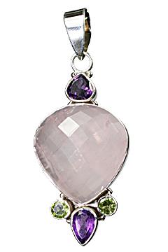 Design 10341: green,pink,purple rose quartz drop pendants