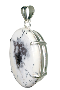 Design 10479: White, Black dendrite opal art-deco, mens pendants