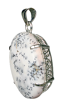 Design 10480: White, Black dendrite opal art-deco, mens pendants