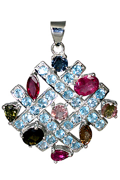 Design 10501: multi-color blue topaz art-deco, estate pendants