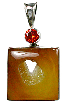 Design 10593: red,yellow onyx art-deco pendants