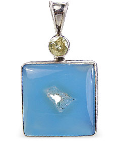 Design 10595: blue chalcedony art-deco pendants