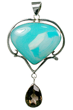 Design 10598: blue,brown onyx drop pendants