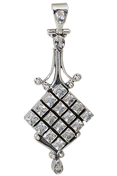 Design 10639: white white topaz art-deco pendants