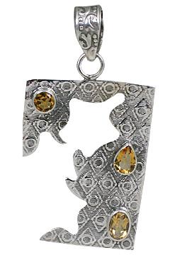 Design 10687: yellow citrine art-deco pendants