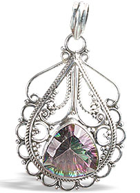 Design 10824: green,purple,multi-color mystic quartz estate pendants