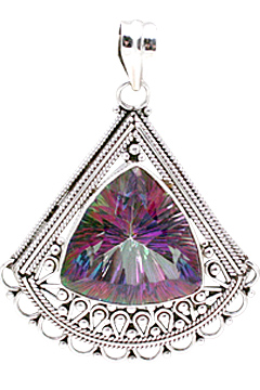 Design 10825: blue,green,pink mystic quartz estate pendants