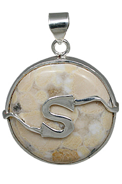 Design 10855: White, yellow jasper initials, mens pendants