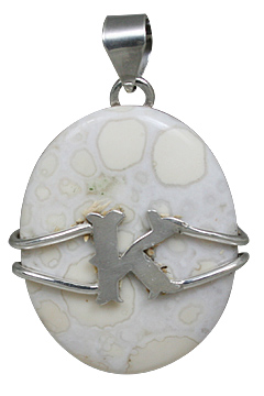 Design 10856: white jasper initials, mens pendants