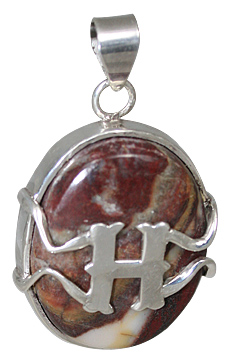 Design 10857: brown,white jasper initials pendants