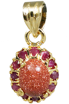 Design 10925: pink goldstone pendants