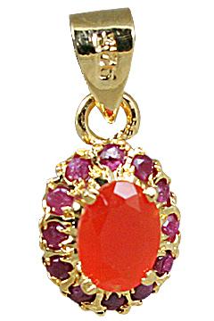 Design 10930: orange,pink carnelian pendants