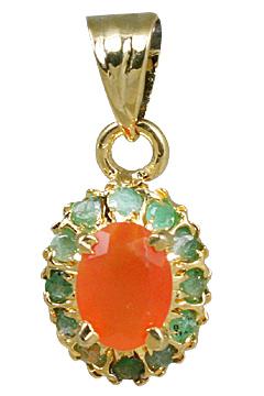 Design 10942: green,orange carnelian pendants