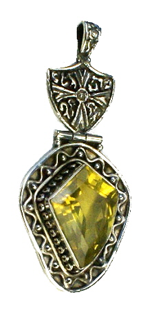 Design 11029: yellow citrine gothic-medieval pendants