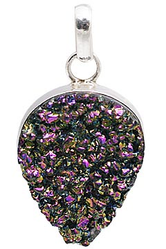 Design 11148: green,pink drusy drop pendants