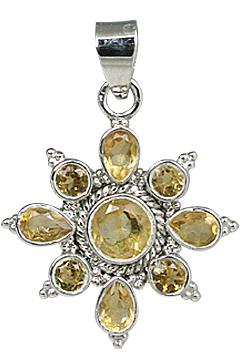 Design 11282: yellow citrine flower pendants