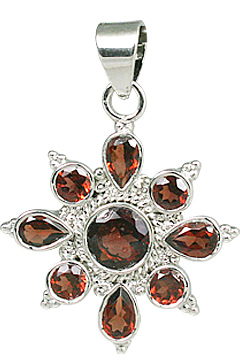 Design 11283: red garnet flower pendants
