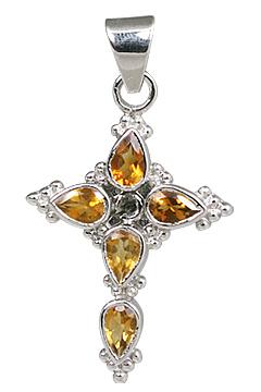 Design 11288: yellow citrine cross pendants