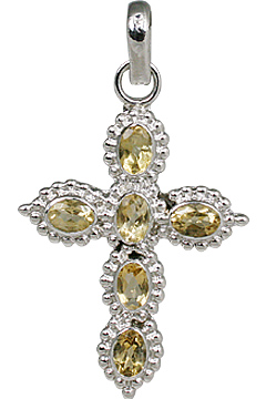 Design 11292: yellow citrine cross pendants