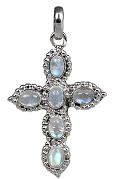 Design 11294: blue,white moonstone christian pendants