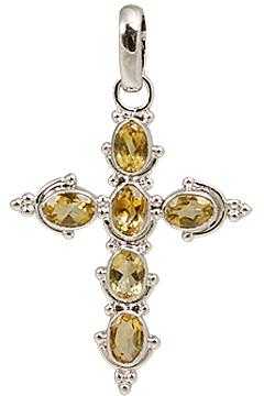 Design 11308: yellow citrine cross pendants