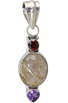 Design 11390: brown,purple,red rutilated quartz pendants