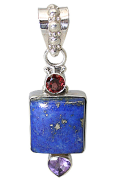Design 11391: blue,purple,red lapis lazuli pendants