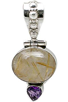 Design 11392: brown,purple rutilated quartz pendants