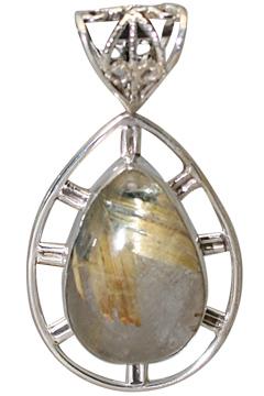 Design 11394: brown rutilated quartz drop pendants