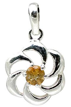 Design 11398: white,yellow citrine flower pendants