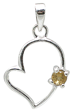 Design 11405: white,yellow citrine heart pendants