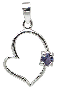 Design 11406: blue,white iolite heart pendants