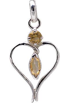Design 11420: white,yellow citrine heart pendants