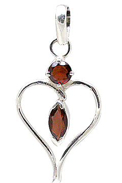 Design 11422: red,white garnet heart pendants