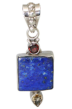 Design 11448: blue,red,yellow lapis lazuli pendants